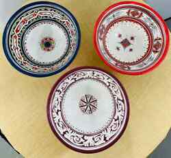 Vintage Moroccan Tribal Pottery Hand Painted Bowls - Set Of 3