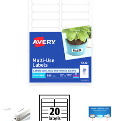 Avery 5422 Mulit Use Labels Removable 840 Labels 1/2 X 1 3/4 Laser Or Inkjet