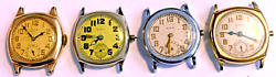 Lot Of 4 Vintage Mens Elgin Cushion Military Style Watches For Restoration
