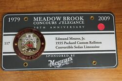 Meadow Brook Concours D' Elegance - Exhibitor Plate W/ Medallion - Michigan 2009