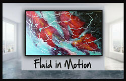 72 Original X Large Abstract Painting Art Deco By Elsisy Purple Red Viridian