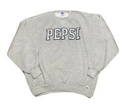 Vtg 90s Russell Athletic Pepsi Embroidered Spell Out Crewneck Sweatshirt Size Xl