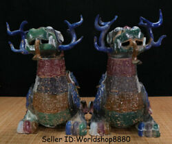 20.4old China Bronze Ware Painting Feng Shui Pixiu Fly Beast Wealth Statue Pair
