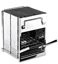 Zento Wood Burning Folding Camp Stove Stainless Steel Foldable Grill Survival