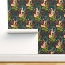 Removable Water-activated Wallpaper Mermaid And Unicorn Mythical Colourful