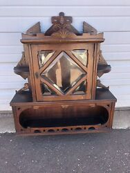 Antique Victorian Hanging Display Wall Shelf Ornate With Beveled Glass