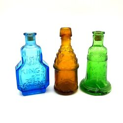 Vintage Miniature Colored Wheaton Glass Bottle Lot 3 Inch Liberty Bell