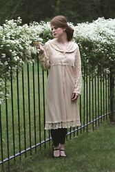 Victorian Trading Co April Cornell Ivory Lace Mirabelle Coat Dress M 43b