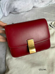 Celine Teen Classic Small Womenand039s Shoulder Bag Authentic Burgundy Calfskin 1799