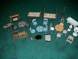 Vintage Doll House Furniture Lot Tub Sewing Machine Fireplace Tables Beds Chairs