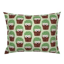 Hedgehog Cactus Cacti Hipster Pots Cute Animals Green Pillow Sham By Roostery