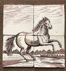 Super A Complete Set Of 4 Dutch Delft Tiles Of Standing Horse Mural C.17th Cent.
