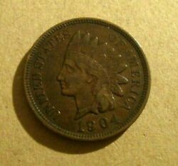 Us Usa Indian Head One Cent Coin 1904 Nice Condition