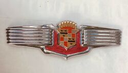1941 Cadillac Rechromed Wings Trunk Emblem Nos Crest Badge Oem Show Quality