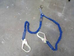 Fall Protection Safety Lanyard 4andfrac12and039 - 6and039 Double Leg With Dual Rebar Hook