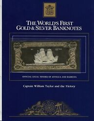 23kt Gold And Silver Antigua 100 Banknote Capt. William Taylor And The Victory