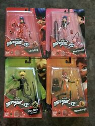 Set Of 4 Miraculous Ladybug Marinette Cat Noir And Rena Rouge 5.5 Action Figures