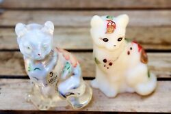 2 Collectible Hand Painted Fenton Art Glass Cats Opalescent/white Floral-signed