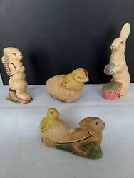 Lot Of 4 Rich Connolly Antique Chocolate Mold Folk Art Chalkware