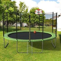 14ft Round Trampoline With Enclosure Safety Net And Basketball Hoop Combo