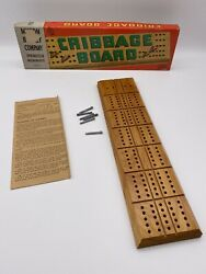 Vintage Cribbage Board Milton Bradley 4626-a Box Pegs Instruction Sheet 1960and039s