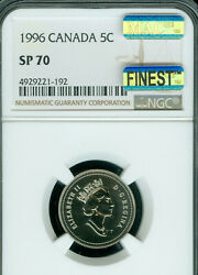 1996 Canada 5 Cents Ngc Sp-70 Mac Finest Grade And Spotless Rare ..