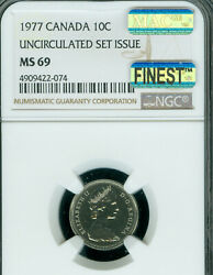 1977 Canada 10 Cents Ngc Ms-69 Pq Mac Finest Grade And Spotless Rare ..