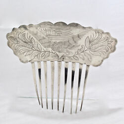 19th C American Coin Silver Hair Comb Engraved W Eagle Flag Tulips - Folk Art Sl