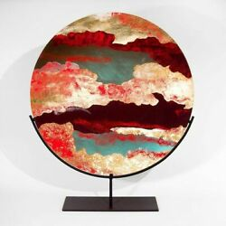 Art Glass Of Bohemia Dish With Stand Enamelled Fire Hand Painted