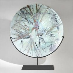 Glass Art Of Bohemia Dish With Stand Enamelled Fire Hand Painted