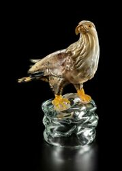 Eagle Royal On Base In Murano Glass Original Made Andigraven Italy Made By Hand