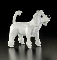 Poodle Dog White In Murano Glass Original Made Ìn Italy Made By Hand