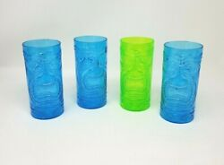 Greenbrier Set Of 4 Tiki Themed Plastic Tumblers Goblets Cups Green Blue New