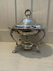 Vintage Beautiful Silver Chafing Warmer Dish Serving Tray Set Missing Handle