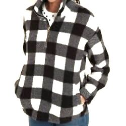 Nwt Old Navy Plush Plaid Cozy Sherpa 1/4 Zip Pullover Jacket Size M