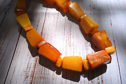 Rare Antique Deco Old Natural Baltic Amber Beaded Necklace Large Egg Yolk Beads