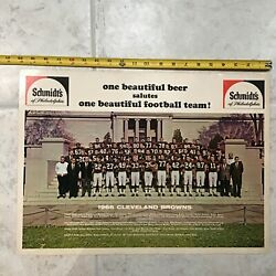 1966 Cleveland Browns 20andrdquo Team Poster Schmidts Beer Of Philadelphia