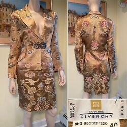 Vtg Givenchy By Alexander Mcqueen Size 40 Us 8 Gold Jacquard Floral Skirt Suit