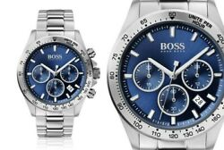 New Hugo Boss Hb1513755 Hero Blue And Silver Genuine Menand039s Chronograph Watch