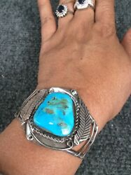 Nice Native American Navajo Sterling Silver Turquoise Cuff Bracelet