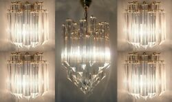 Stunning Rare Set Five Murano Glass Triedri Wall Sconces And Ceiling Chandelier