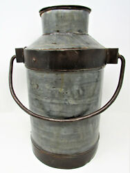 Antique Small Milk Can Pail Bail Handle Galvanized Metal India Heavy Duty