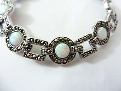 Opal Marcasite Bracelet 1920s Art Deco Style Anniversary Mothers Day Gift Boxed