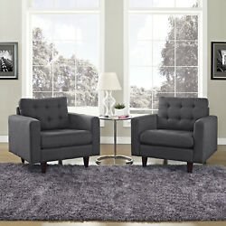 Modway Empress Mid-century Modern Upholstered Fine Fabric Two Armchair Set