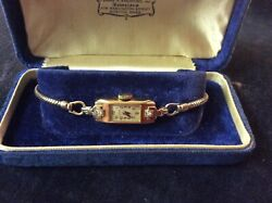 Antique 14k Gold Elgin Watch With Diamond Accents And Box