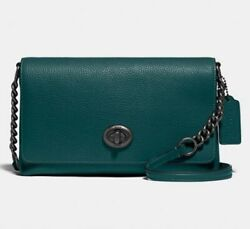🎉NWT Coach Crosstown Crossbody Pebbled Leather Bag Forest Green #1494 $144.95