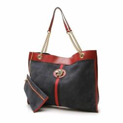 Rajah Navy Blue Suede Tote And Pouch Set With Embellished Tiger