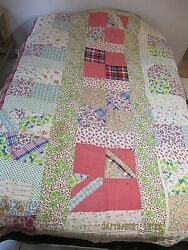 Antique Genuine Hand Sewn Quilt Fr Clothes W Feed Sack Backing Mixed Design