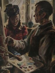 Painter With Female Model In Studio - Back In Forest-interior