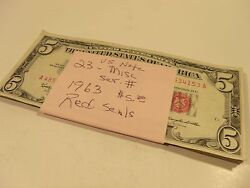 1963 Red Seal 5 Dollar United States Notes Lot Of 23 - Slightly Circulated